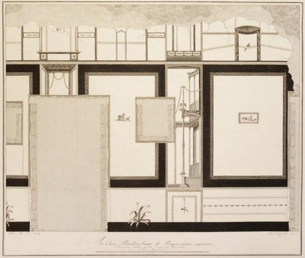 ed i pavimenti delle stanze dell'antica Pompei incisi in rame.