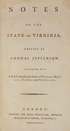 Thomas. Notes on the state of Virginia;