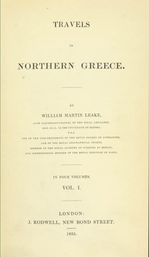 William Martin. Travels in Northern Greece.