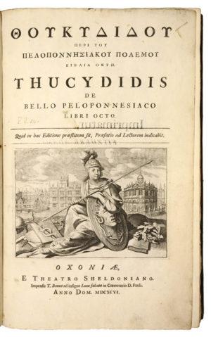 THUCYDIDES. Thoukydidou Peri tou Peloponnesiakou polemou biblia okto. Thucydidis De Bello Peloponnesiaco Libri Octo.