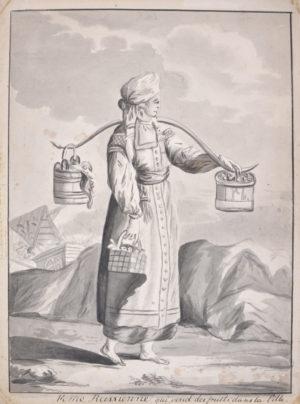 Femme Russienne qui vend des fruits dans la Ville.