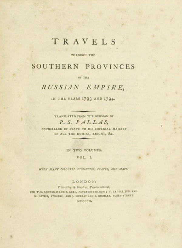 Peter Simon (1741-1811). Travels through the Southern Provinces of the Russian Empire.