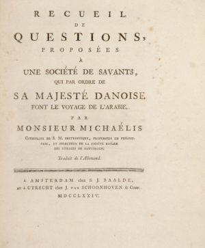 Johann David. Recueil de questions