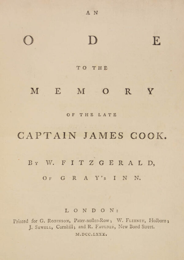 W[illiam]. An ode to the memory of the late Captain James Cook. By W. Fitzgerald