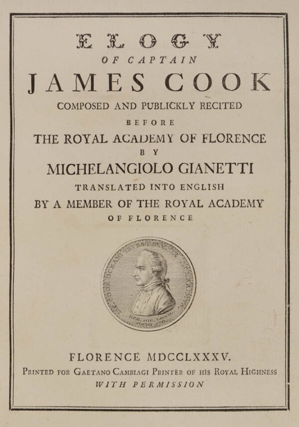 Michelangiolo. Elogy of Captain James Cook.