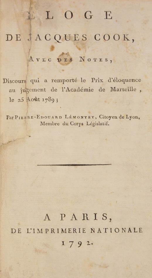 Pierre Edouard. Eloge de Jacques Cook avec des notes: